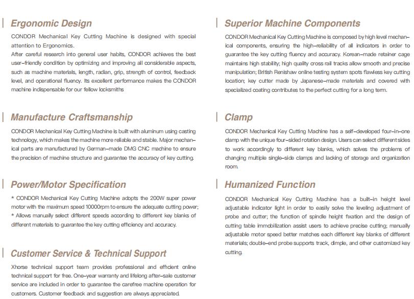 Condor XC-002 Features