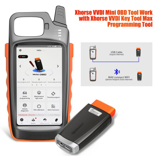 [UK/EU/US Ship] Xhorse VVDI Key Tool Max with VVDI MINI OBD Tool Free Xhorse Renew Cable