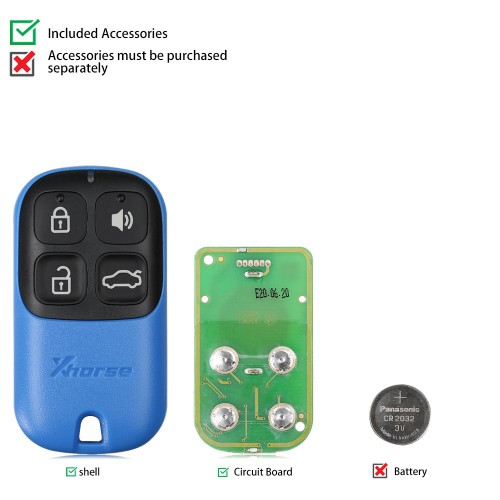 [UK/CZ/US Ship] XHORSE XKXH01EN Wire Remote Key Shell Separate 4 Buttons Blue English 5pcs/lot