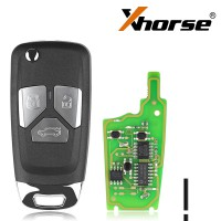 Xhorse XNAU01EN Wireless Remote Key Audi Flip 3/4 Button Key English 5pcs/lot