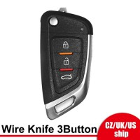 [UK/EU/US Ship] Xhorse XKKF02EN Wire Remote Key Knife Flip 3 Buttons English 5pcs/lot