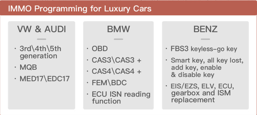 Key Tool Plus immo programming for luxury cars